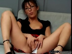 Schoolgirl chick in glasses and panties toys pussy