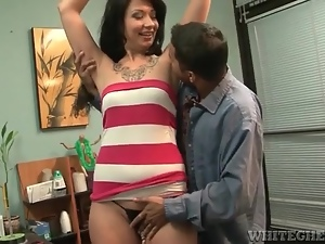 He likes licking armpits of skinny girl