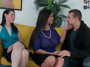 Classy sluts fool around with him in BJ threesome