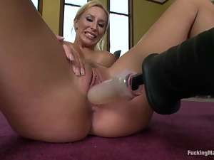 Brooke Fox takes a ride on a fucking machine in a classroom