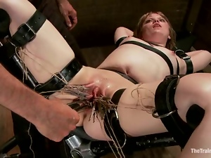 Short-haired milf Alani Pi gets her pussy toyed to orgasm in BDSM scene