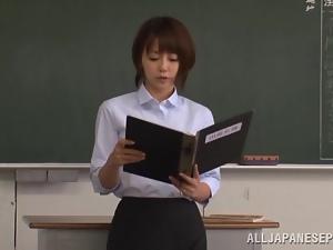 Japanese style gangbang scene with a sexy teacher