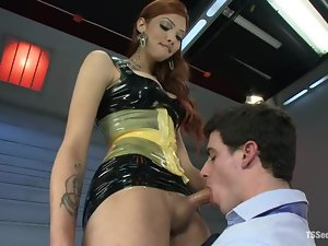 Redhead tranny is pleasing Tylar's asshole