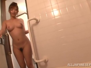 Satou Haruka sucks a guy off before taking a shower
