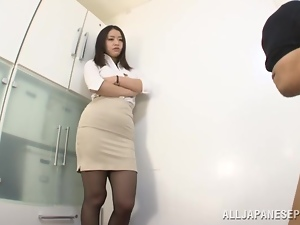 Superb Kaede Niiyama takes her skirt off and fondles the dick