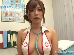 Satou Haruka the sexy nurse sucks two dicks and gives a titjob