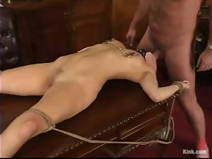 Sassy blond angel gets tortured and fucked by her boss