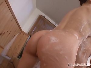 Soapy Japanese Babe with Hot Ass gives a Blowjob to an Old Man