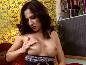 Beautiful Brunette Girl Masturbates in Sexy Erotic Show