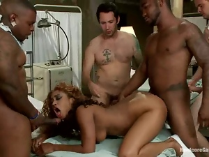 Sexy Black nurse gets gangbanged by her patients