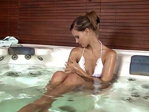 Gorgeous Babe in White Bikini Masturbating in the Jacuzzi