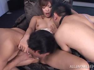Satou Haruka satisfies two guys and enjoys herself