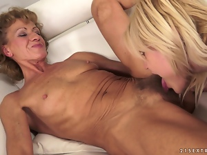 Lesbian Action Between Blonde Babe and Horny Granny
