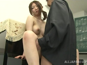 Sexy Asian girl gets fingered by her music teacher
