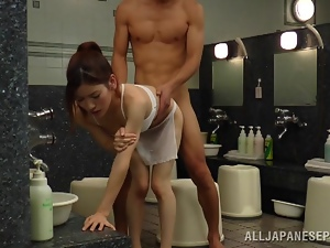 Slim Reiko Kobayaka gets fucked nice and deep in a bathroom