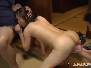 Japanese mom urie Matsushi gets fucked by two horny dudes