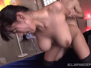 Busty Japanese chick gets spanked on her cute face