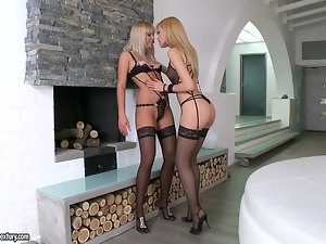 Compilation with gorgeous lesbian babes in lingerie having sex