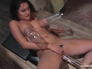 Charley Chase gets her tits pumped and her pussy toyed to orgasm