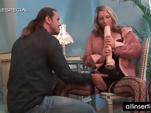 Slutty blonde teasing cunt with monster dildo