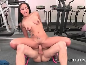 Hardcore fucking at the gym with naked sexy latina