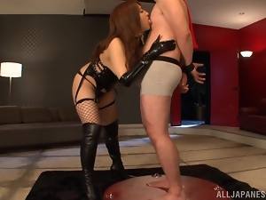 Sexy Shiori Kamisaki sucks a cock and gives a handjob