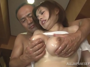 Busty cougar is getting naked and fucked hard