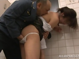 Public WC perversions with a kinky Asian  babe