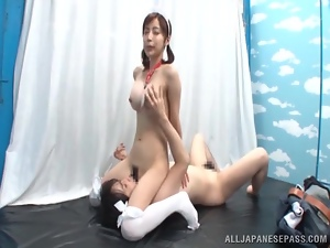 Slim Japanese maid and her man enjoy 69 position indoors