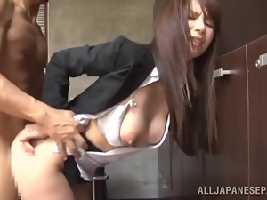 Passionate doggy style in the office with a sexy Japanese angel
