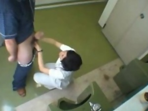 Japanese nurse washes some guy's dick in a bathroom