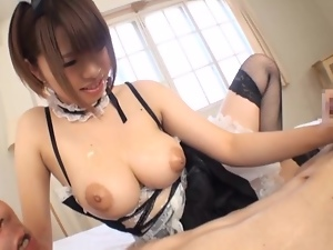 Hungry dude licks the cream off Meru's tits