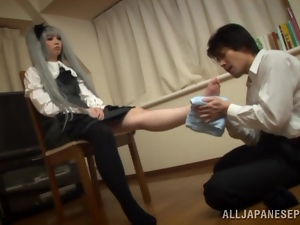 Japanese doll Miyu Shiina gets stunningly mouth-fucked by a horny man