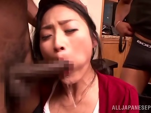 Amazing Risa Murakami gets pounded by two Black dudes