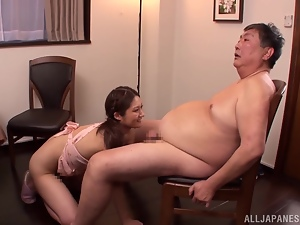 Charming Rina is riding a fat man with care