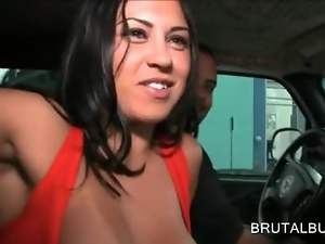 Chesty amateur picks up guys for sex in the bus
