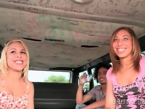 Amateur girls riding the sex bus for hardcore fucking