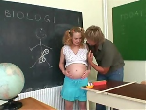 Pregnant teacher gets fucked by her student in a classroom
