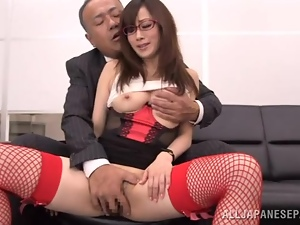 Japanese office girl enjoys some naughty banging with her boss
