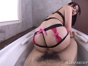 POV sex in the bathroom with Miyu Nakai
