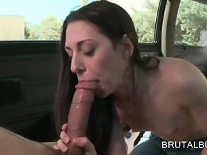 Small titted amateur sucking large dick in the sex bus