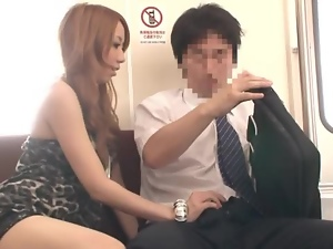 Japanese slut seduces a guy and gives him a nice blowjob