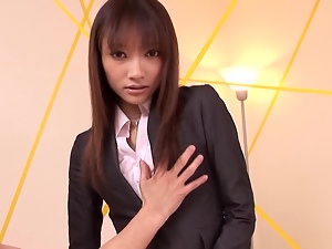 Japanese hottie gets fucked through the hole in her pants