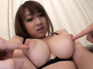 Busty Japanese doll sucks cock and gets cum on her tits