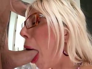 Slutty blonde MILF in glasses gets starved twat drilled hard
