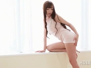 Amazing asian sex doll sensually kissing her lover