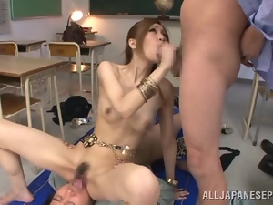 Arisa Aizawa gets two dicks to play with in a classroom