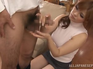 Ramu Hoshino plays with some guy's dick and doesn't enjoy it