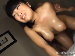 Adorable chick Ai Satou enjoys sucking a cock in 69 position