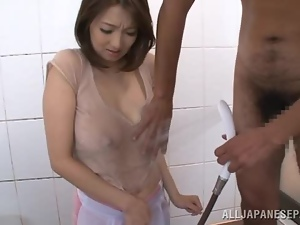 Shower Titjob with Mio Takahashi's Big Soapy Boobs